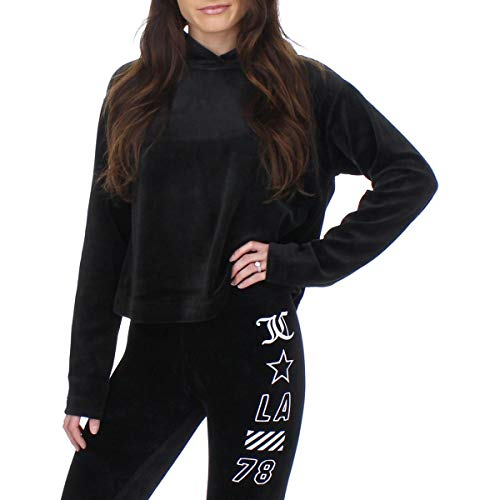 Juicy Couture Velour Hooded Pullover Pitch Black MD (US 6-8)