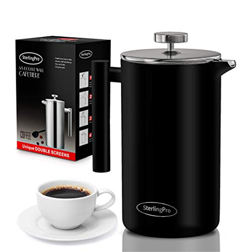 SterlingPro French Press Coffee Maker(1.75L)-Double Walled Large Coffee Press with 2 Free Filters-Enjoy Granule-Free Coffee Guaranteed, Stylish Rust Free Kitchen Accessory-Stainless Steel French Press