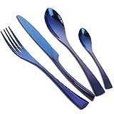 Buyer Star 4 piezas Inox Cubiertos Set, Vajilla de acero inoxidable Utensilios azules Boda Fiesta Set de cubiertos de acero, Cuchara de postre Cucharilla Cuchillo y tenedor