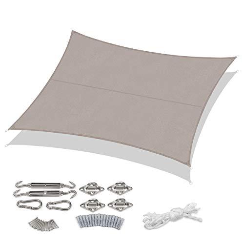 Sekey Sonnensegel Sonnenschutz Rechteckiges Polyester Windschutz Wetterschutz Wasserabweisend Imprägniert 95% UV Schutz, für Outdoor Garten mit Seilen und Befestigungs Kit, Taupe 3×4m mit kit