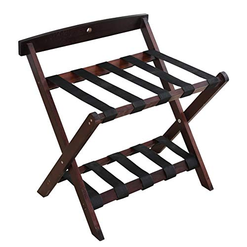 Find Bargain BAIYING Luggage Rack Wooden Luggage Rack Hostel Guest Room 2 Layer Suitcase Rack Backre...