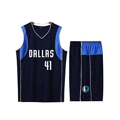 Nowitzki Mavericks # 41 DRLLRS Basketball Trikot Ärmellos Set Männlich Weiblich Kind Jungen Mädchen Erwachsene Basketball T-Shirt Kurze Hose 2-teiliges Set Blau Schwarz Weiß-Black-S