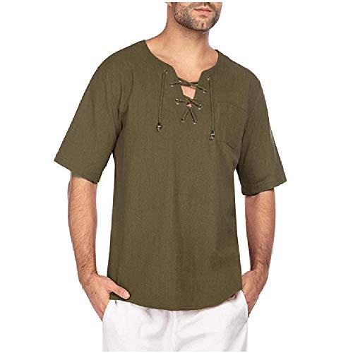 Herren Kurzarm T-Shirt Baumwolle Hanf Krawatte Casual T-Shirt Beige
