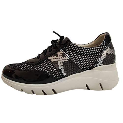 Encarni Zapatería - Zapatillas Deportivas Mujer con Estilo | Bambas Comodonas Cuña | Zapato para Vaqueros | Tenis Plataforma Casual | Primavera Verano (Negro, 38)