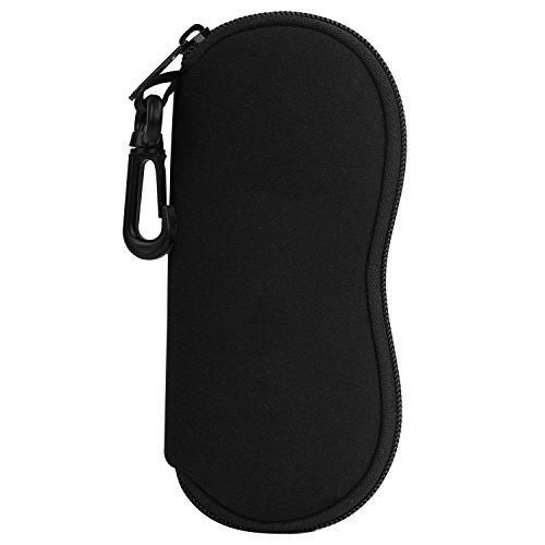 MoKo Funda de Gafas - [Ultra Ligero] Neopreno con Cremallera Almacenaje Lente Suave Sunglasses Case con Clip de Cinturón para Gafas, Bolsa de Llaves, Lápices, Tarjetas, Negro