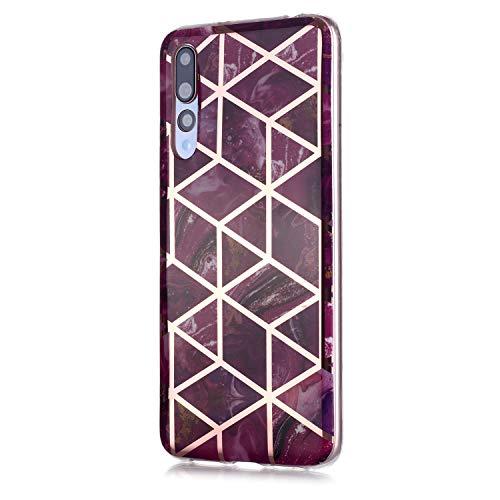 Fatcatparadise Cover per Huawei P20 PRO [con Pellicola in Vetro Temperato], [Marmo] TPU Morbido Silicone Bumper Cover [Ultra Sottile] Antiurto Protettiva Case per Huawei P20 PRO(Viola)