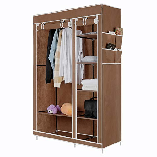DazHom Closet Organizer Wardrobe Portable Clothes Closet Shelves with Non-Woven Fabric Waterproof Sturdy Storage Organizer Bedroom Hanging Closet Wardrobe Closet, Quick and Easy to Assemble (Brown)