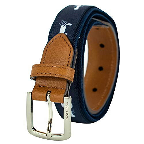 Nautica Big Boys Novelty Web Belt with Leather Loop and Tip, Navy, 28