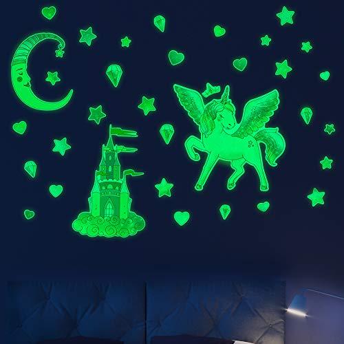 Basumee Einhorn Wandsticker selbstklebend Leuchtsticker Wandtattoo, fluoreszierende Wandtattoo & Wanddeko Aufkleber für Baby, Kinder oder Schlafzimmer