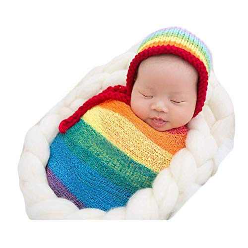 Fashion Newborn Boy Girl Baby Photography Props Outfits Rainbow Hat and Long Ripple Wrap Set (Rainbow)