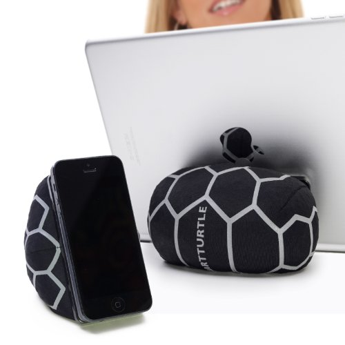 SMARTTURTLE multifunktionale iPad Halterung, Made in Austria, Sitzsack für Smartphone, Handy, eReader, Tablet, iPhone, iPad Air 1/2/3/4, Samsung Note Galaxy für Tisch, Bett, Sofa, Auto uvam - silber