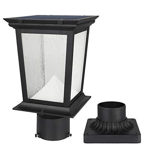 Solar Post Light Outdoor, Aluminum Exterior Motion Sensor Post Pole Lantern with 3 Inch Pier Mount Base, Daylight White 6500K Glass Post Gap Lights Fixture for Garden Yard Fence Porch, Black Finish