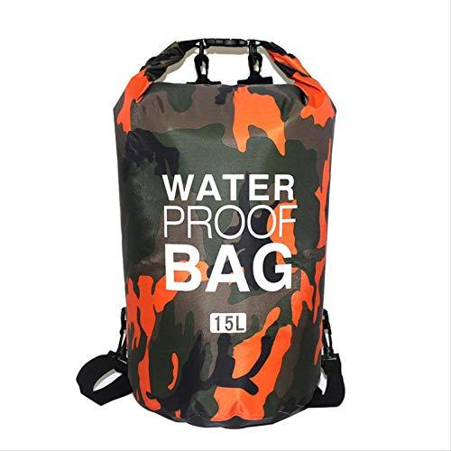 Paquete De 2 Bolsas Secas Impermeables con Diseño De Camuflaje De 15 L para Navegación A La Deriva, Kayak, Pesca, Rafting, Natación, Acampada, Piragüismo, Surf