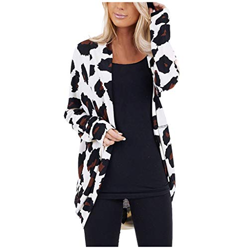 MOHOLLL Women's 3/4 Sleeve Cardigans Striped/Floral/Leopard Printed Open Front Draped Kimono Loose Cover Up Casual Blouse D - Brown