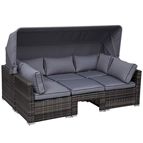 Outsunny Rattan Lounge Set, Sitzgruppe mit Sonnendach, Garten Loungegruppe, inkl. Kissen und Beistelltisch, Metall, Grau, 215 x 75 x 64 cm