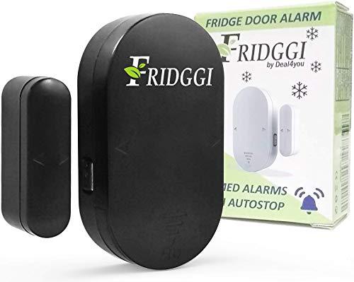 FRIDGGI - Allarme per porta del frigorifero a sinistra aperta, con ritardo di 60 secondi, colore: nero