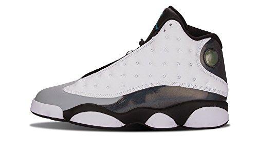 Nike Mens Air Jordan 13 Retro White/Tropical Teal-Black-Wolf Grey Leather Basketball Shoes Size 9