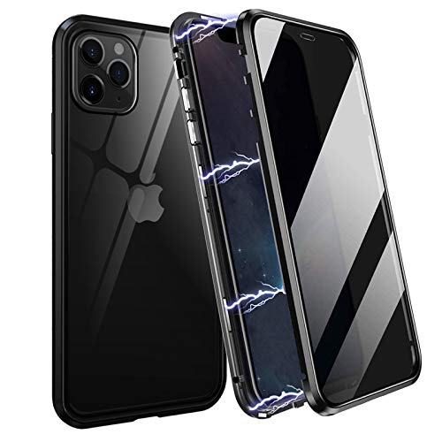 Privacy Magnetic Case for iPhone 11 Double-Side Tempered Glass Metal Bumper Frame Anti-Spy and Magnetic Adsorption Anti-Peeping Magnetic Case for iPhone 11 Black