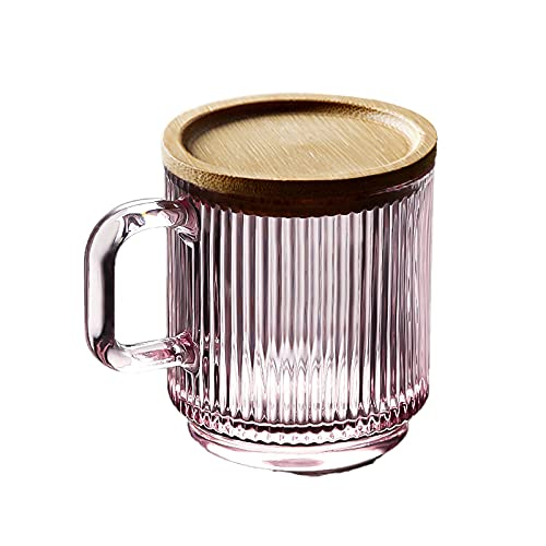Conjunto de vidrio de 2 piezas con tapa 12oz Whisky vino vino cristalería con mango conjunto de vidrio sin plomo (transparente y rosa opcional) (Color : Pink)