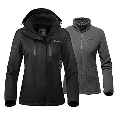 OutdoorMaster Women's 3-in-1 Ski Jacket - Winter Jacket Set with Fleece Liner Jacket & Hooded Waterproof Shell - for Women (Black,L)