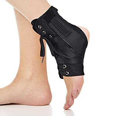 DRWELLAND Ankle Stabilizer - Foot Immobilizer Lace Up Ankle Support Brace - Sports Injuries, Sprains, Swelling Joint Pain, Tendonitis, Heel Spur - Adjustable Compression Straps Guard Protector