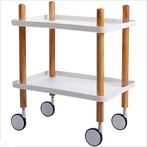 MJY Wagen Faltbarer tragbarer Multifunktions-Klapp-Einkaufswagen, 2-stufiger Aufbewahrungswagen für Aufbewahrungs-Workstation Utility Cart Racks Ideal für Küchen- und Bad-Wohnzimmerorganisatoren (50