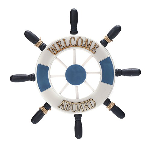 12.8' x 12.8' Nautical Wooden Captain Rudder Wall and Door Hanging Ornament Plaque,Welcome Aboard