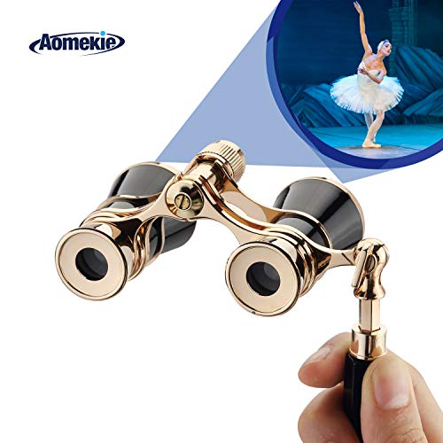 Aomekie Opera Glasses Binoculars 3X25 Theater Glasses Mini Binocular Compact with Handle for Adults Kids Women in Musical Concert(Black)