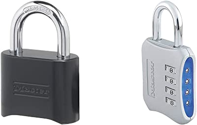Master Lock 178D Set Your Own Combination Lock, 1 Pack, Black & 653D Locker Lock Set Your Own Combination Padlock, 1 Pack, Assorted Colors