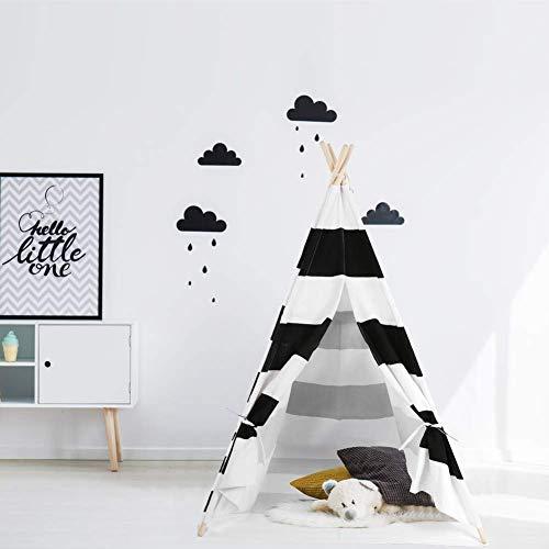Ejoyous Kinder Teepee Tipi Spielzelt, Kinder mit Bodenmatte Baumwolle Segeltuch Kinderzelt 120 * 120 * 145 cm