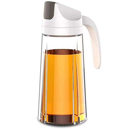 Dispensador de aceite estilo King Style, botella de vidrio de aceite de oliva con tapa y tapón automático, 22 onzas, con boquilla antigoteo, mango antideslizante para cocina