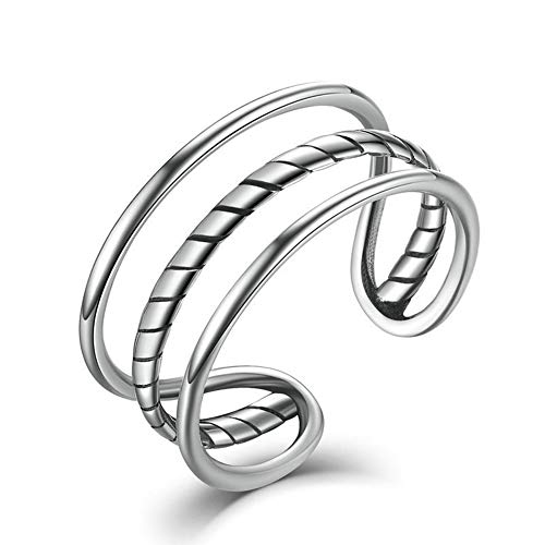 Zolkamery Thumb Ring for Women & Men Sterling Silver Triple Circle Twist Rope Finger Vintage Rings Unisex Open Adjustable Cuff Band Couple Ring Eternity Promise Jewellery Gift for Girls Boys Ladies