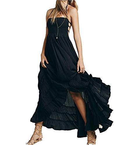Ovender - Vestidos de mujer elegantes vestidos largos para ceremonias y chicas, vestidos formales elegantes para novia, bailes de graduación, fiestas Negro L