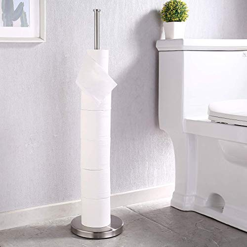 KES Toilettenpapierhalter Stehend Klopapierhaltter Toilettenpapier Aufbewahrung Klorollenhalter Edelstahl SUS304 WC Papier Halterung Rollenhalter Papierhalter Gebürstet, BPS200S80-2