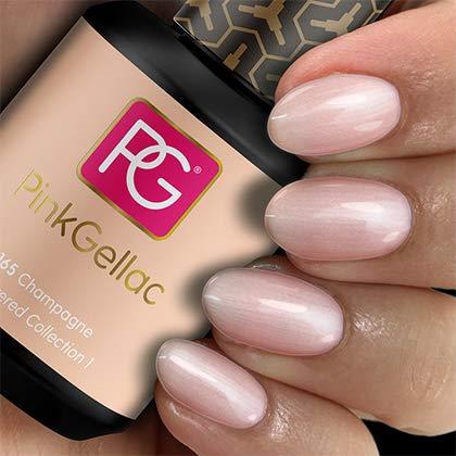 Pink Gellac 165 Champagne UV Nagellack. Professionelle Gel Nagellack shellac für mindestens 14 Tage perfekt glänzende Nägel, 15ml, Rosa