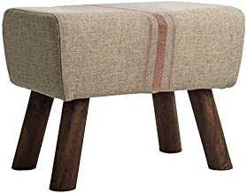 Yxsdd Footrest Footrest Upholstered Bench Wooden Stool Stylish Makeup Removable Cover Linen Stripe Living Room (51cmx40cm)...