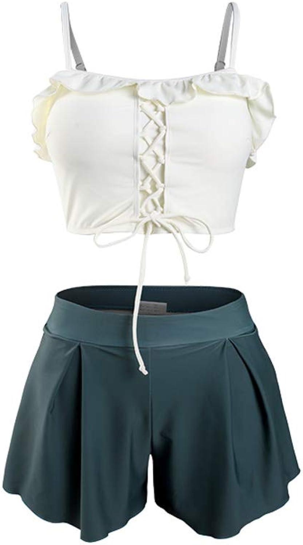 KYWBD Split Swimsuit ThreePiece Suit,Seaside Holiday Skirt Swimsuit