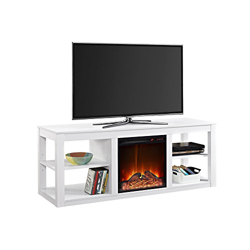 """Ameriwood Home Parsons TV Stand with Fireplace, 65"""", White"""