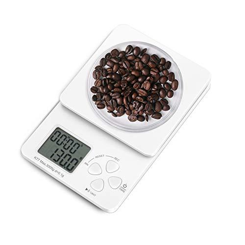 KYG キッチンスケール ドリップスケール タイマー付き 料理用はかり 0.1単位 0.5g~3000g 風袋引き 警告音 2本電池付き コンパクト ホワイト