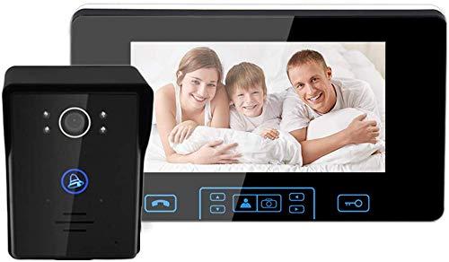 ZGYQGOO HD 7 Pulgadas, Timbre Video con visión Inteligente, videoportero para teléfono, Timbre inalámbrico Dos vías, Impermeable a Prueba Lluvia, visión Nocturna por Infrarrojos, Negro