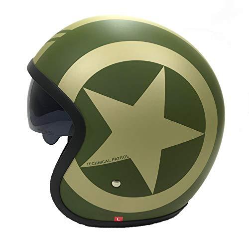 Motorrad JETHELME Viper V06 Motorradhelm Open Face Rollerhelm offener Helm Touren Vintage Jet Helm mit Sonnenblende, ECE Zertifiziert, (Matt Grun Star,L)