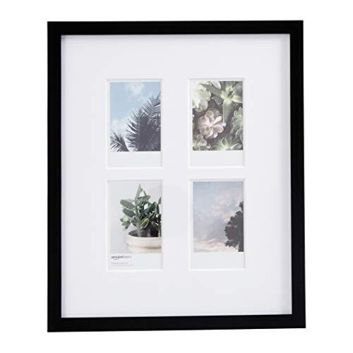 AmazonBasics Bilderrahmen für die Verwendung mit Instax-Sofortbildern, für 4 Bilder, 8 x 5 cm, Schwarz