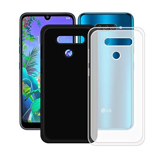 YZKJ Capa translúcida + capa preta para LG K12 Max, luz de absorção de choque, mas durável, flexível, gel macio, transparente, capa de proteção de silicone TPU para LG K12 Max (6,2 polegadas)