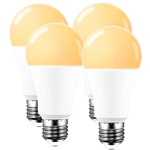 ALLOMN Inteligente Luce lampadine, 15W E27/B22/E14 Lampadine Dimmerabili WiFi Lavora con Alexa Google Home, Controllo Vocale, Funzione di Temporizzazione 1200LM (E27 Bianco Caldo, 4PCS)