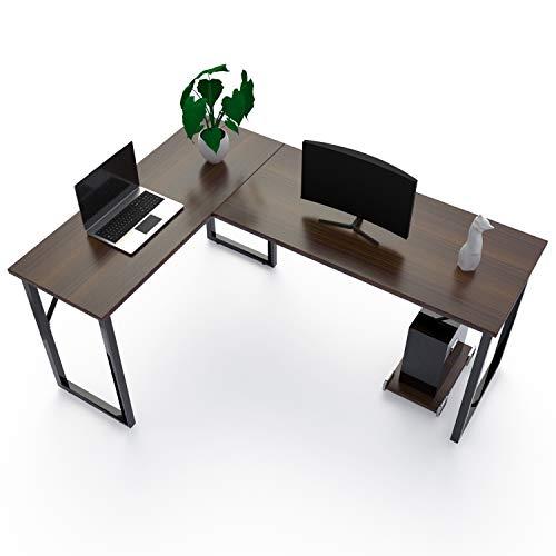 amzdeal Schreibtisch, Eckschreibtisch L-förmiger Computertisch mit CPU-Unterstützung, Hergestellt aus Hochwertigem Holz, Stahlstütze, Dunklem Nussbaum