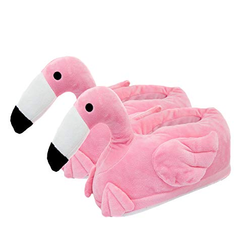 Close Up Flamingo Plüsch Hausschuhe für Erwachsene, Einheitsgröße, rosa