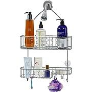 Simple Houseware Bathroom Hanging Shower Head Caddy Organizer,Silver (26 x 16 x 5.5 inches)