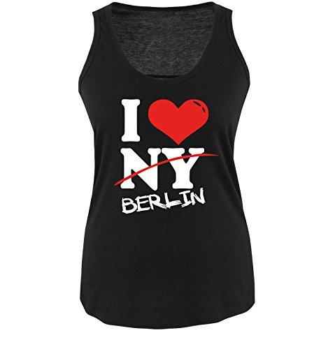 Comedy Shirts I Love Berlin - NOT NY - Damen Tank Top in Schwarz Gr. XL