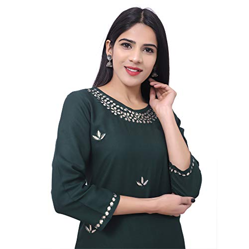 GAURAVI CREATION'S Women's Rayon Straight Kurta with Sharara Set Green
