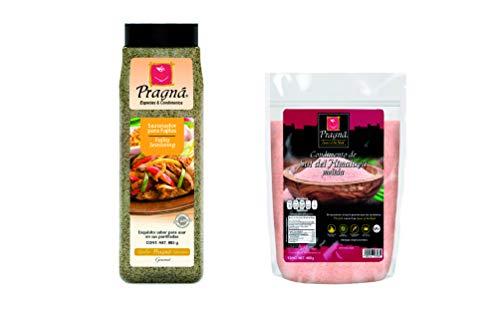 Combo 2 piezas Pragnà: Sal del Himalaya Rosa molida yodada 400 gr y Sazonador para Fajitas 885 gr